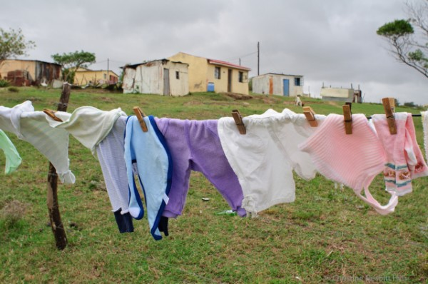Washing hangs on a fence serving as a line in Bodiam in the Eastern Cape of South Africa on Thursday March 22, 2012.